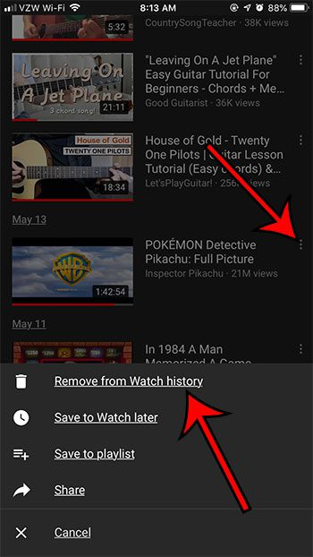 how to remove single video from watch history