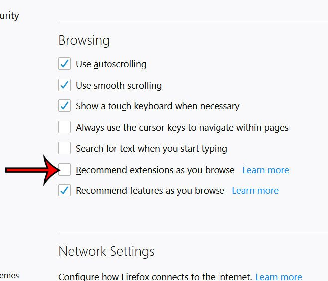 how to disable firefox browser extension recommendations
