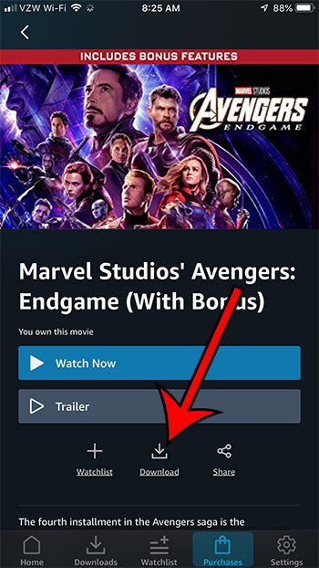 how to download Avengers Endgame to your iPhone from Amazon