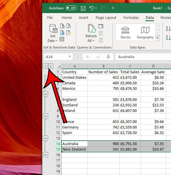 collapse or expand all groupings in excel