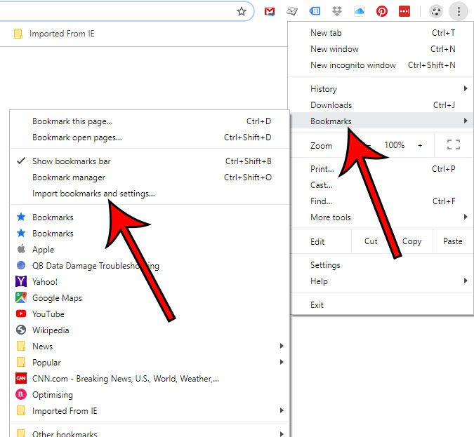 select the Import bookmarks and settings option
