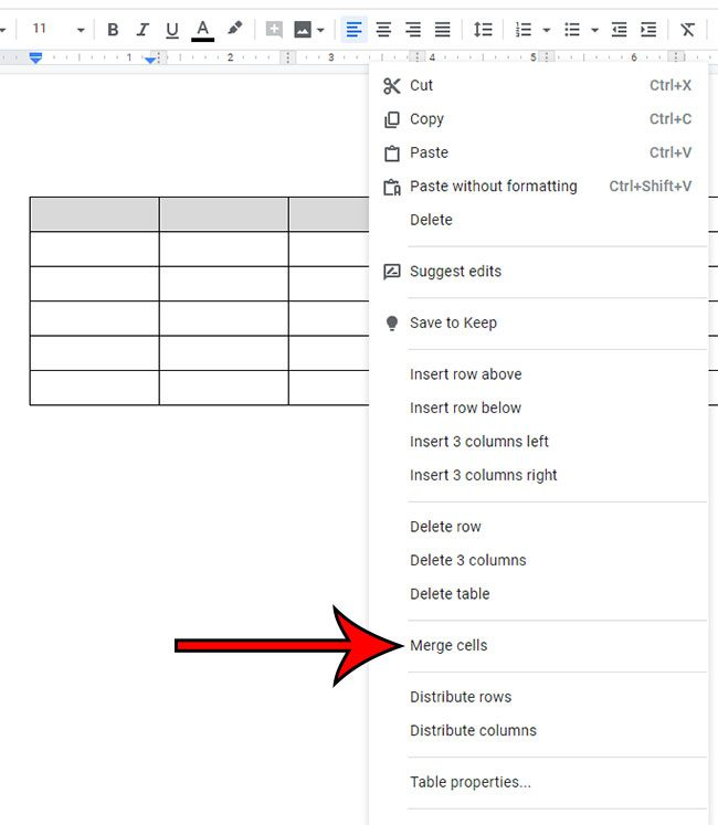how to merge cells in google docs table