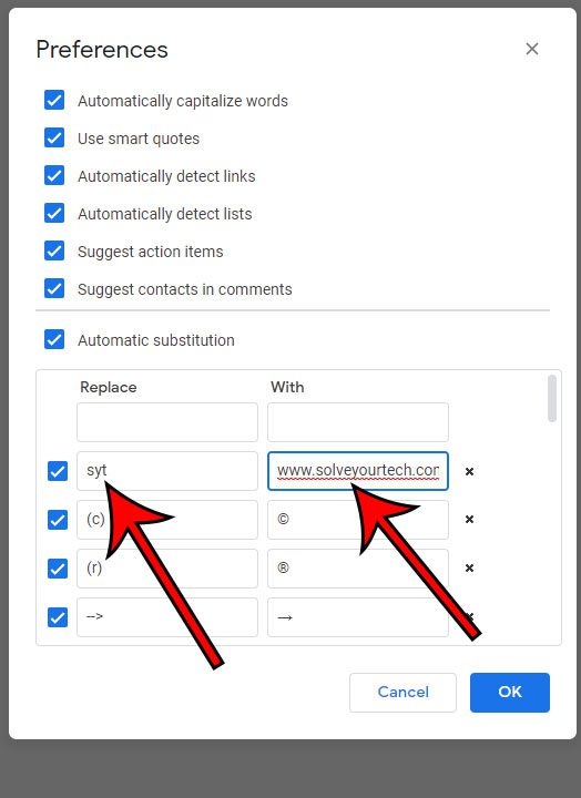 how to create a custom text substitution in Google Docs