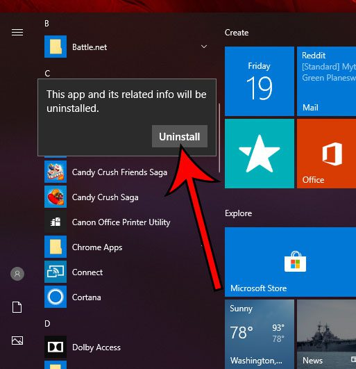 alternate method for uninstall app in Windows 10
