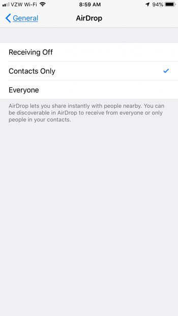 where is airdrop setting on iphone 7