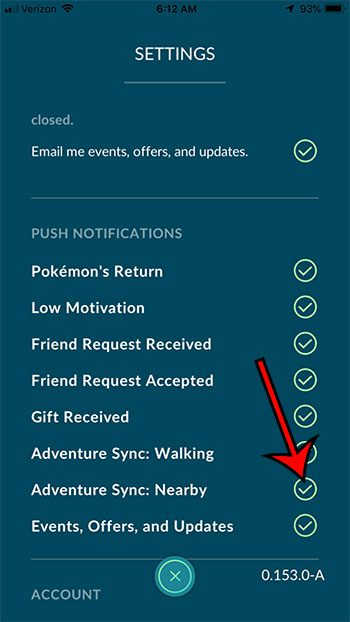 how to turn on Adventure Sync Nearby in Pokemon Go