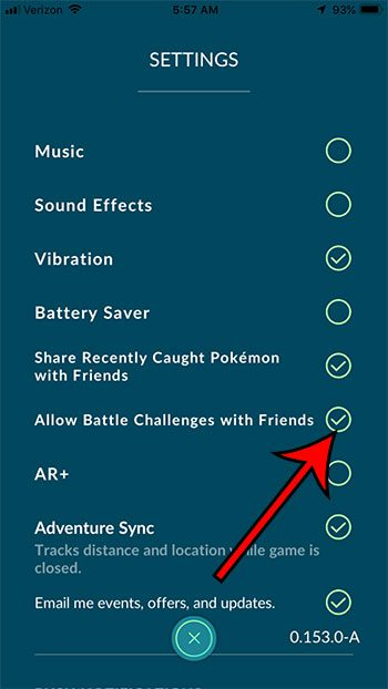 how to enable or disable battle challenges with friends in Pokemon Go