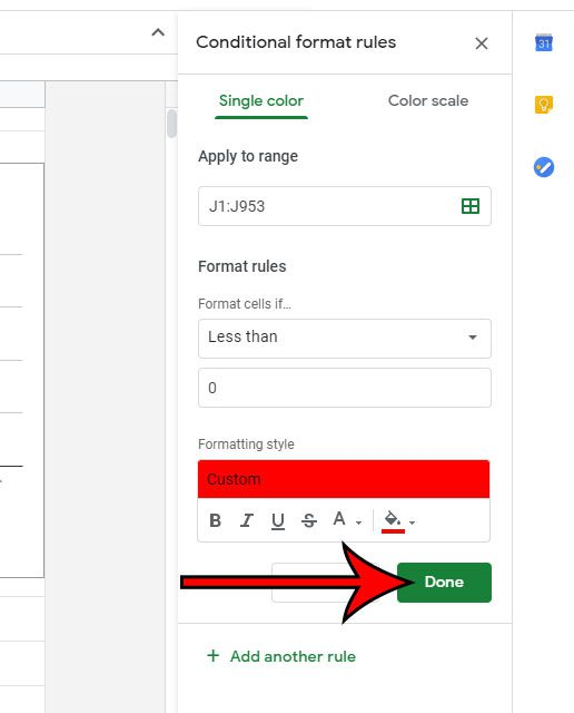 how to make cells red if the value is less than 0 in Google Sheets