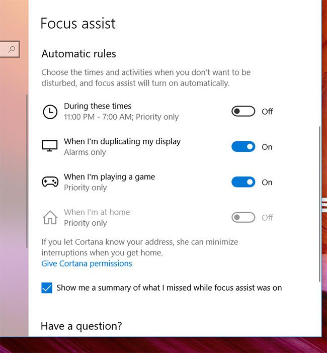 Windows 10 Focus Assist automatic rules