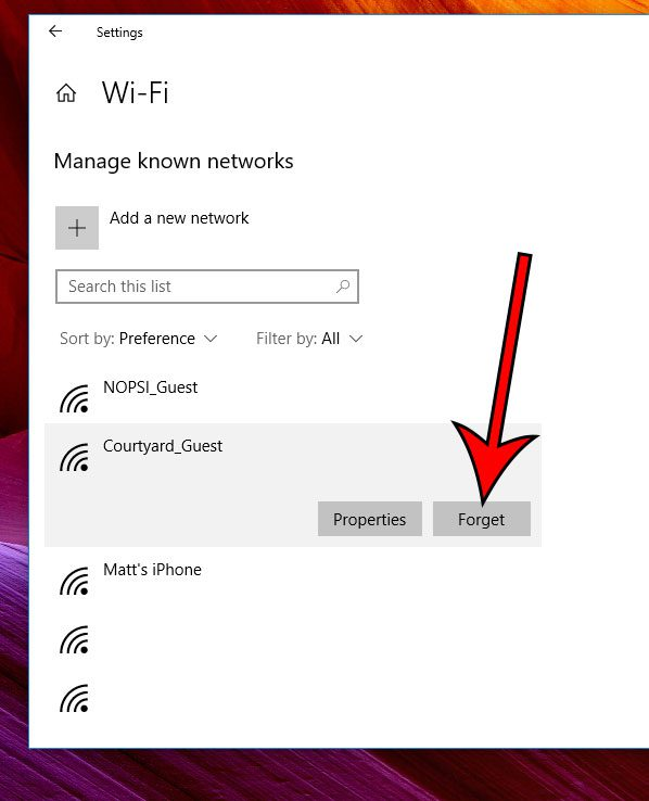 how to forget a known network in Windows 10