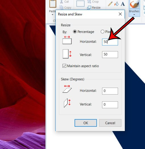 how to resize an image in Microsoft Paint