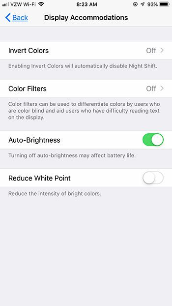 enable auto brightness on iphone