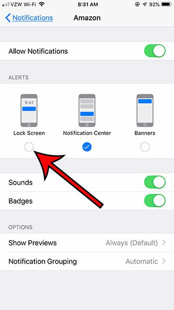 adjust iphone app notification settings