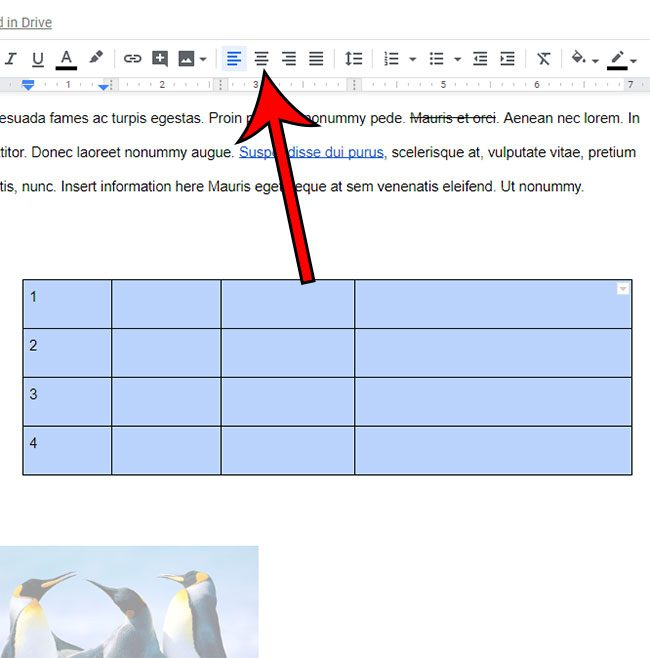 how to center all cells in Google Docs table