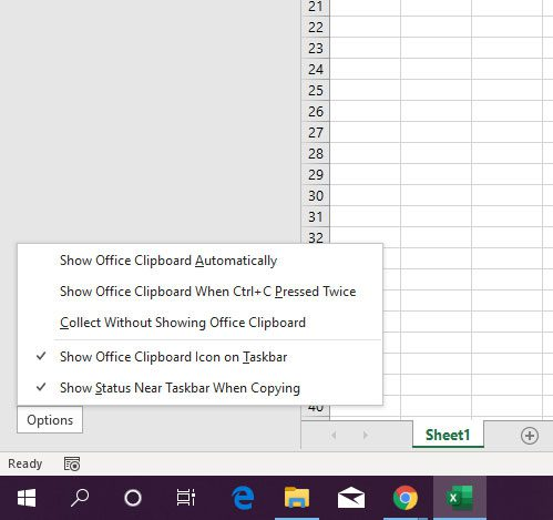 adjust the Excel clipboard options