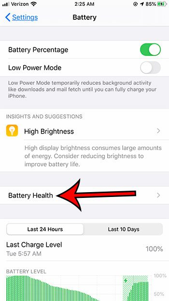 select the Battery Health option