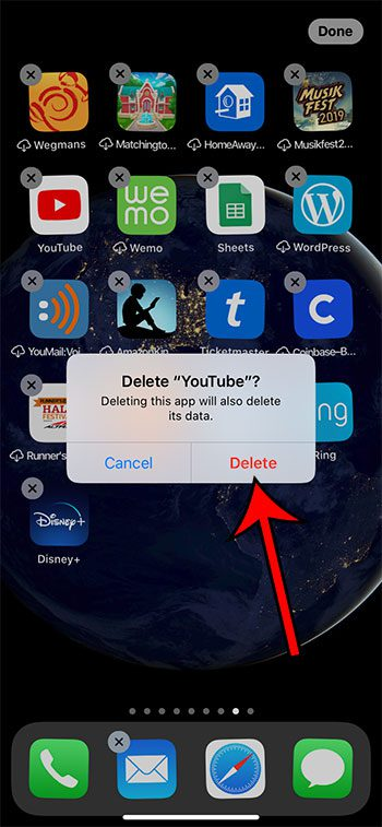 how to delete the YouTube iPhone app