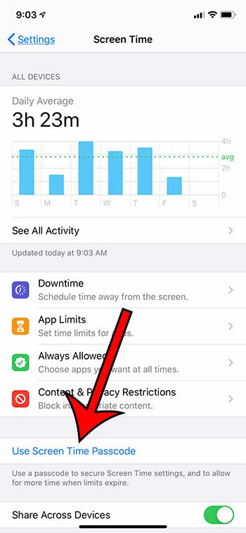 use a Screen Time passcode
