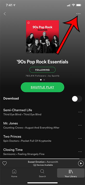 open the playlist menu