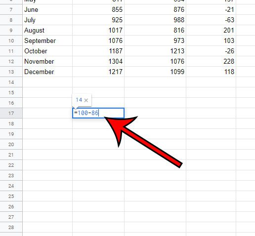 how to subtract two numbers in Google Sheets