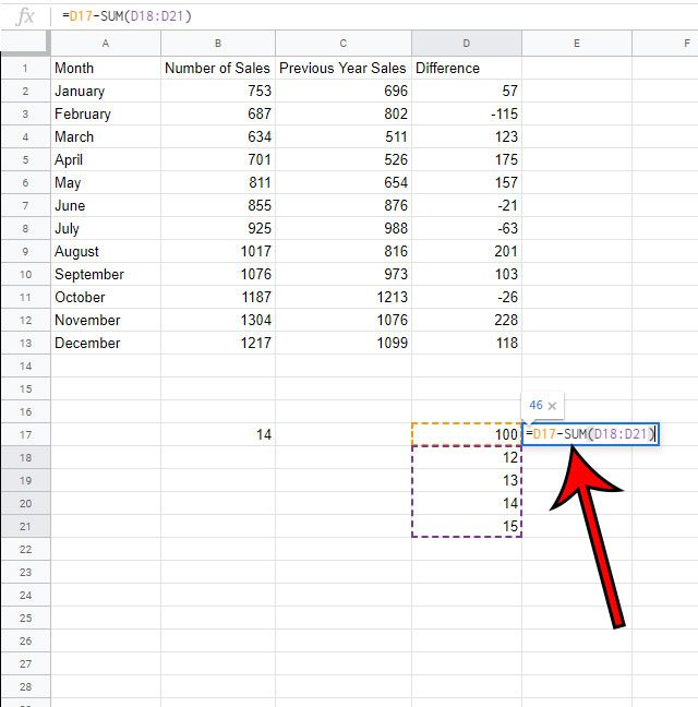 how to subtract a range of cells in Google Sheets