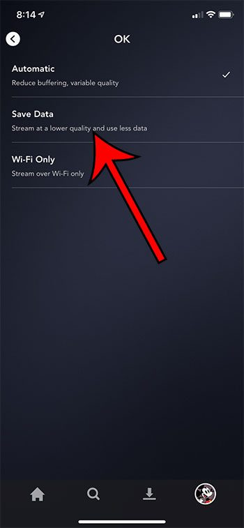how to reduce cellular data usage in the Disney Plus iPhone app