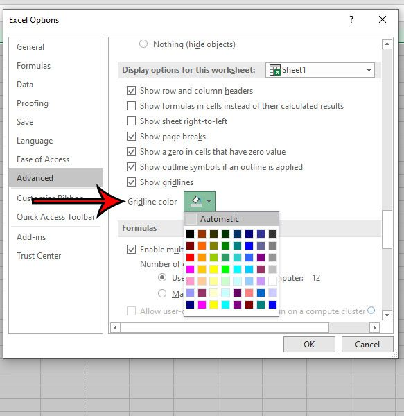 how to change gridline color in Excel 2016