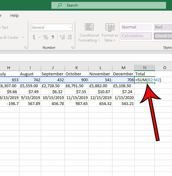 how to add all of the values in a row in Excel 2016