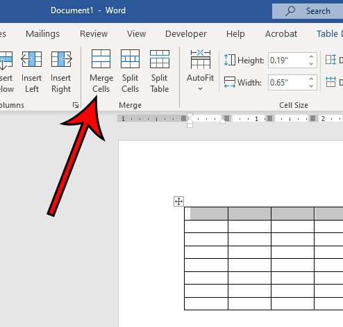 how to merge cells in Word 2016 tables