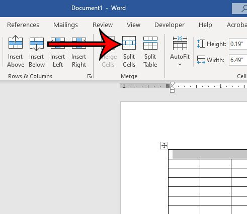 how to split cells in Word 2016