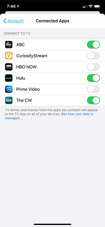 how to connect Hulu or Prime Video to the iPhone TV app