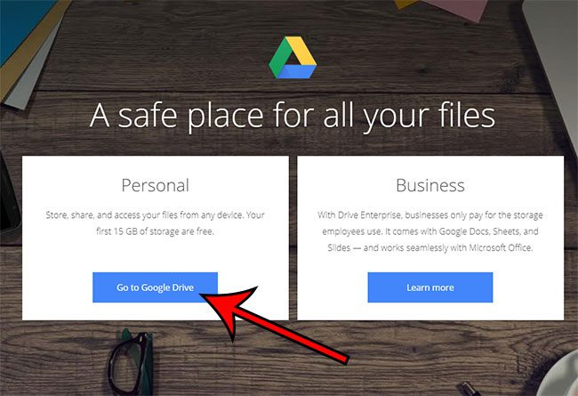 click the Go to Google Drive button