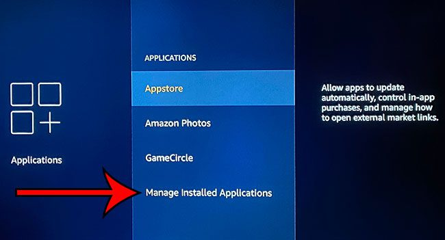 choose to Manage Installed Applications