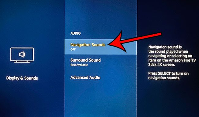 how to turn off navigation sounds on the Amazon Fire TV Stick