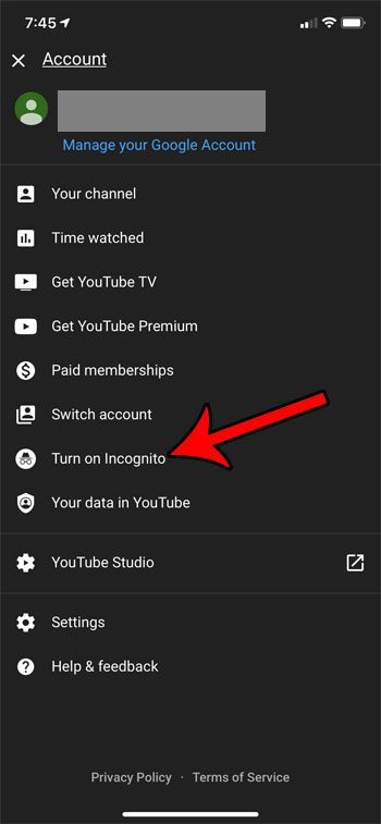 how to enable incognito mode in the YouTube iPhone app