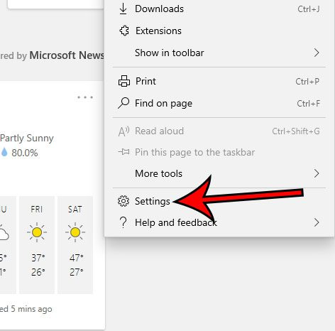 open the Microsoft Edge Settings menu