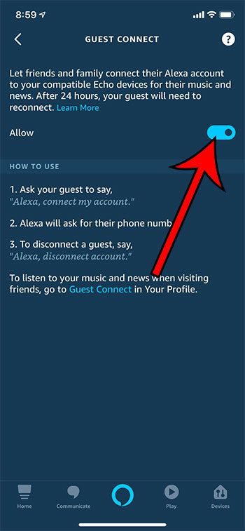 how to enable Guest Connect in Alexa on an iPhone