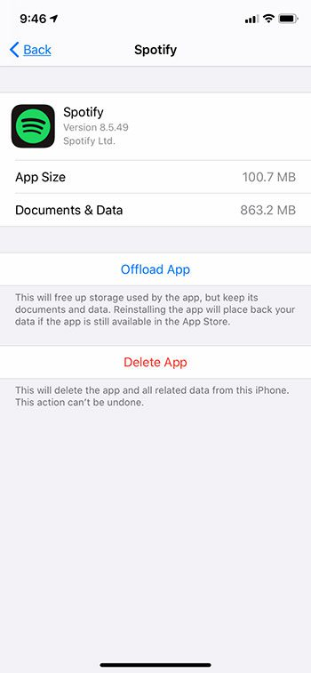 view Spotify storage usage on iPhone
