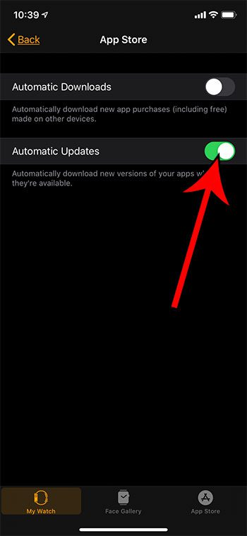 how to stop Apple Watch apps from updating automatically