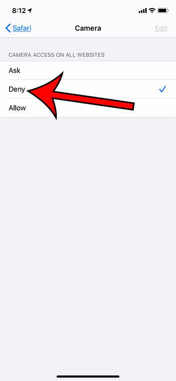 how to deny camera access to websites in Safari on an iPhone