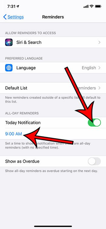 how to enable all day reminder notifications on an iPhone
