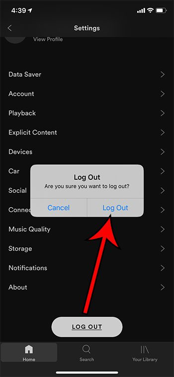 how to sign out of Spotify on an iPhone