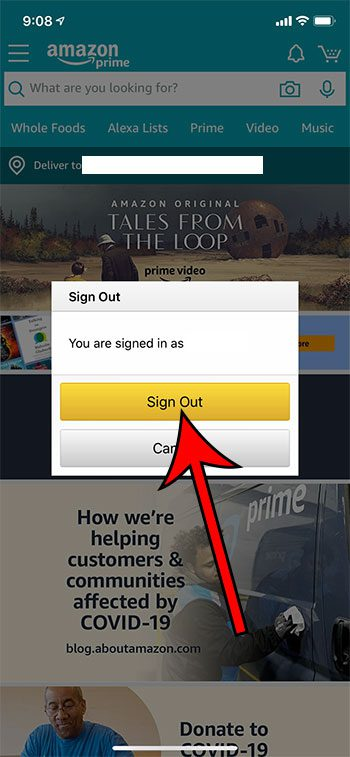 how to sign out of the Amazon iPhone app