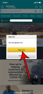 how sign out of Amazon in iPhone app
