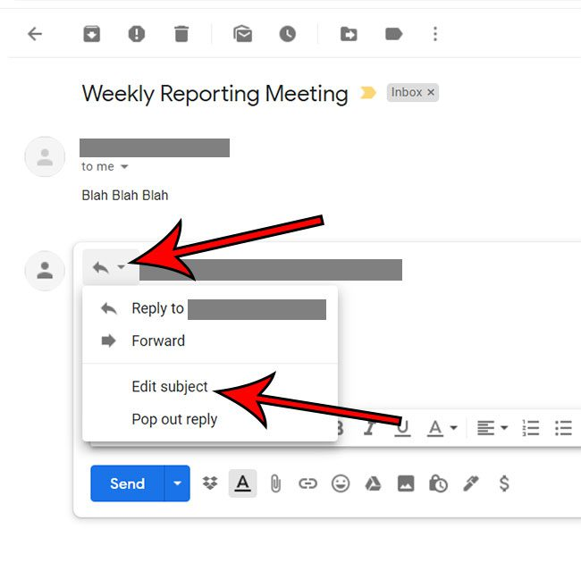 how to change subject line in Gmail