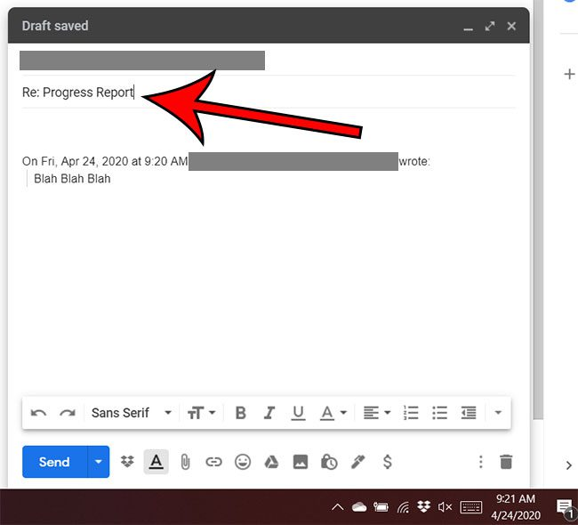how to edit the subject line for a reply in Gmail