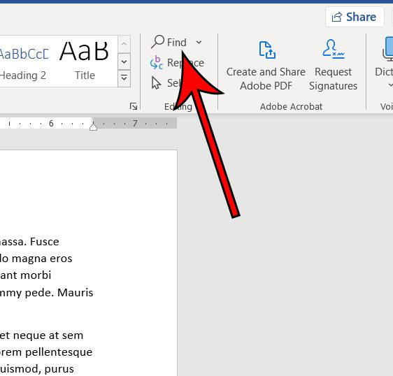 click the Find button in the Editing group