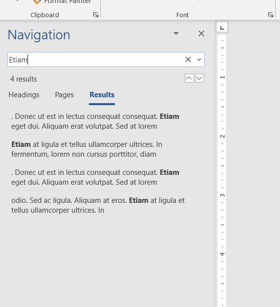 how to search for a word in a Microsoft Word document