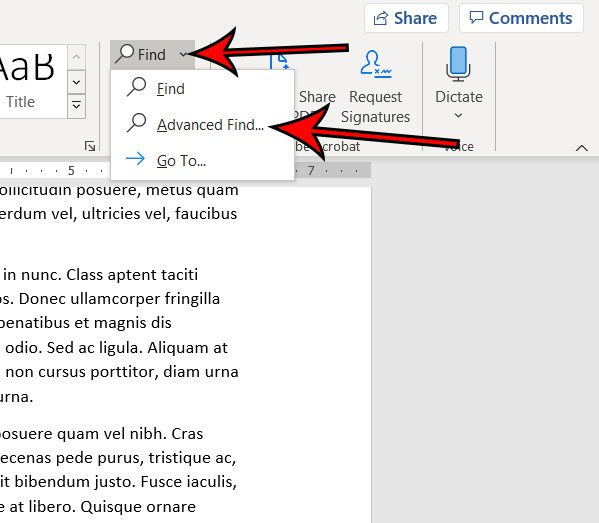 how to do an advanced search for a word in Microsoft Word