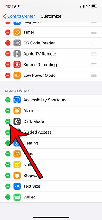 how to add Dark Mode to the Control Center on an iPhone